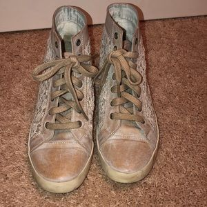 Free People high top lace and leather.